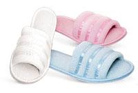 Ladies Terry Satin Trim Scuff Slippers #201